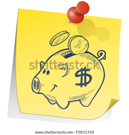 Doodle style piggy bank on yellow sticky note sketch in vector format