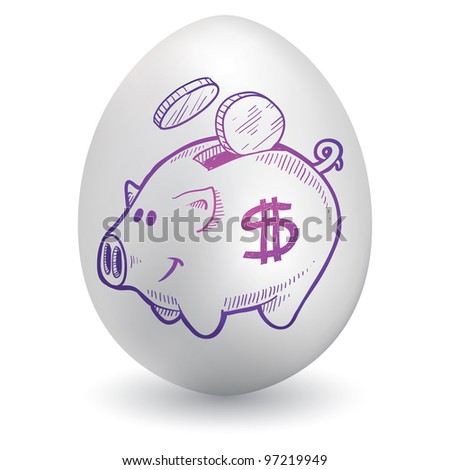 Doodle style piggy bank sketch on decorated holiday Easter Egg in vector format