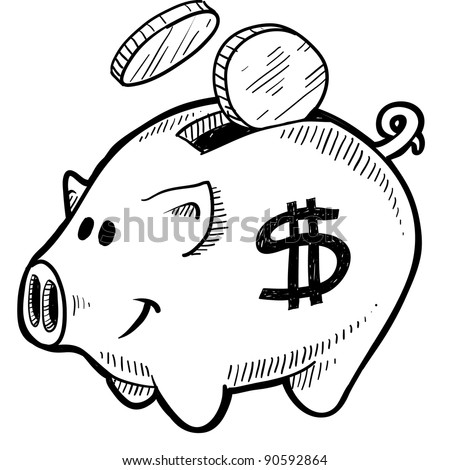 Doodle style piggy bank with dollar sign and coins in vector format