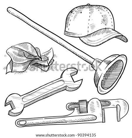 Doodle style plumber or mechanic vector illustration with plunger, ball cap, tissue, wrench, and pipe wrench