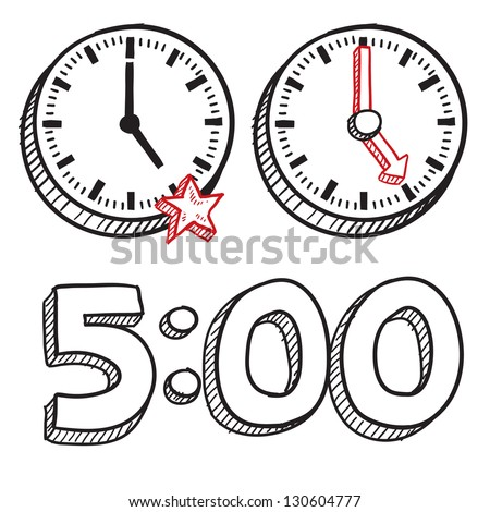 Doodle style 5:00 PM end of work day illustration in vector format.  Includes text and clocks.