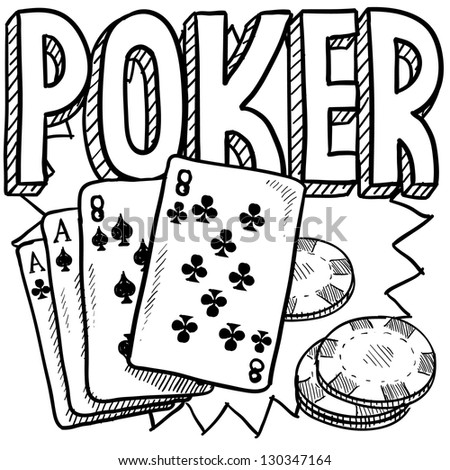 Doodle style poker card game illustration in vector format. Includes text, cards, and chips.