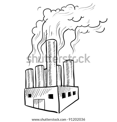 Doodle style polluting industrial smokestack or factory illustration in vector format suitable for web, print, or advertising use.