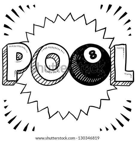 Doodle style pool or billiards illustration in vector format. Includes text and eight ball.