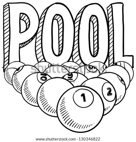 Doodle style pool or billiards illustration in vector format. Includes text and pool balls.