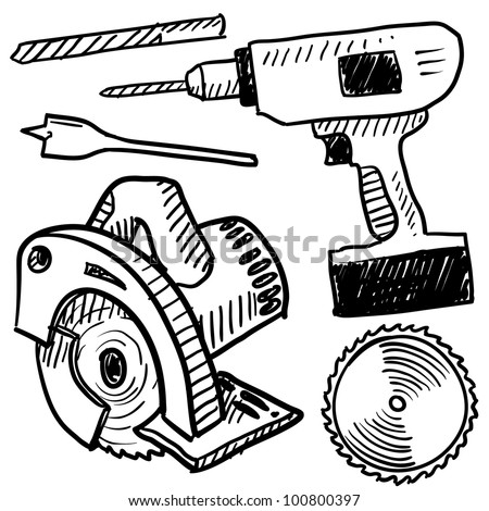 Doodle style power tools illustration in vector format