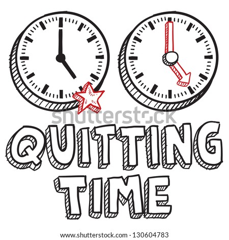 Doodle style quitting time illustration in vector format.  Includes text clocks indicating 5:00 PM.