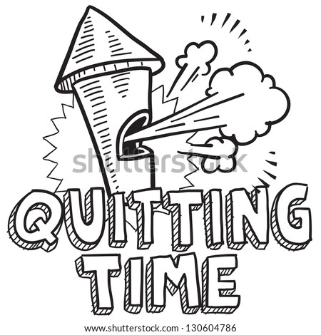 Doodle style quitting time or end of work day illustration in vector format.  Includes text blowing whistle.
