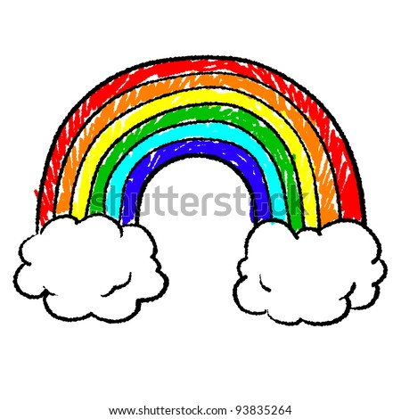 Doodle style rainbow sketch in vector format