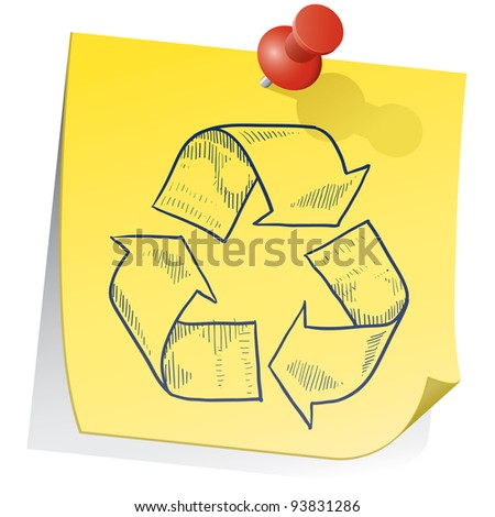 Doodle style recycling symbol on yellow sticky note sketch in vector format