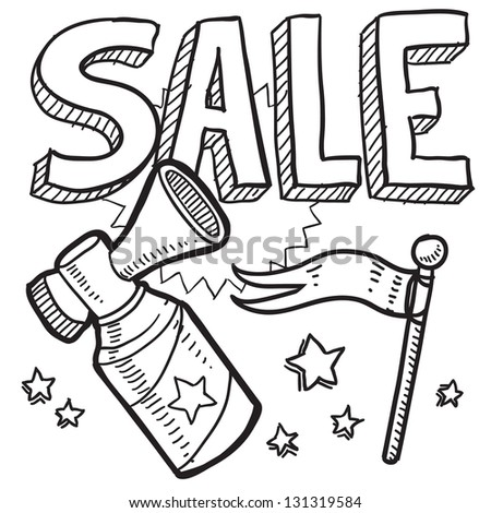 Doodle style retail sale announcement icon in vector format.  Sketch includes text, air horn, and flag.
