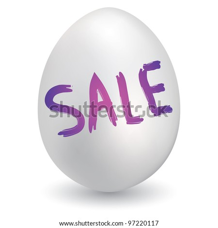 Doodle style retail sale sketch on decorated holiday Easter Egg in vector format