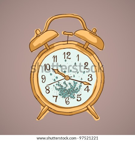 Doodle style retro alarm clock illustration in vector format suitable for web, print, or advertising use. - stock vector