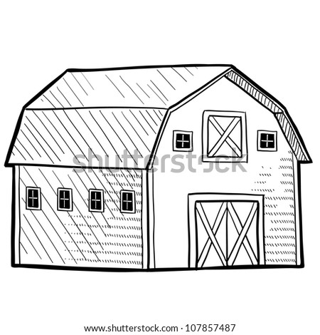 Doodle style retro barn from rural area sketch in vector format.