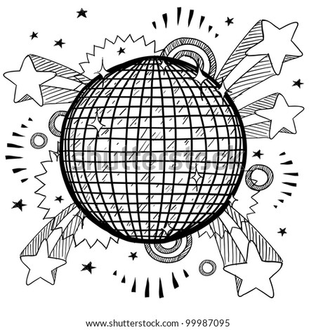 Doodle style retro disco ball on 1970s pop explosion background