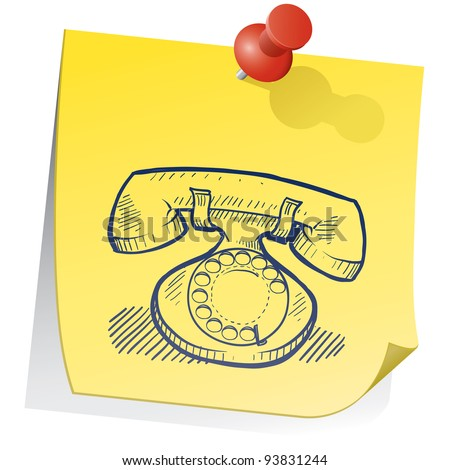 Doodle style retro telephone on yellow sticky note sketch in vector format