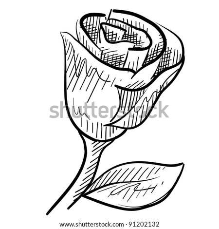 Doodle style romantic rose illustration in vector format suitable for web, print, or advertising use.