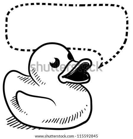 Doodle style rubber ducky with speech bubble illustration in vector format.