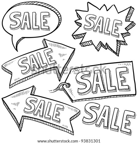 Doodle style sale tag, arrows, and labels sketch in vector format