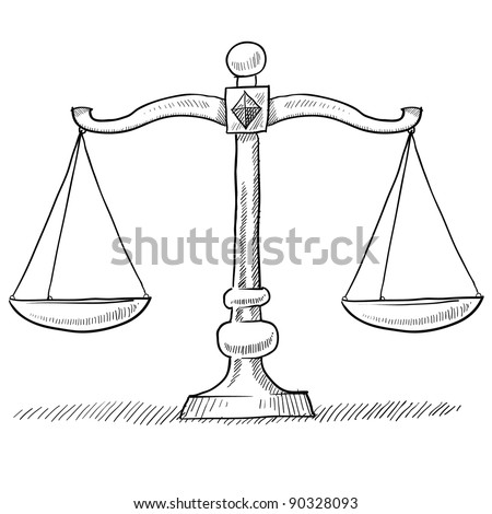 Doodle style scales of justice vector illustration