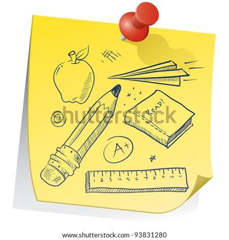 doodle style school equipment