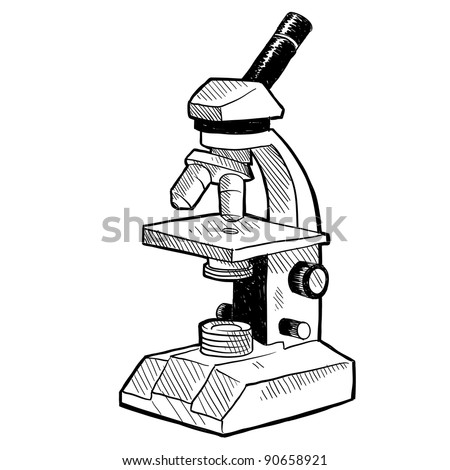 Doodle style scientist's microscope in vector format