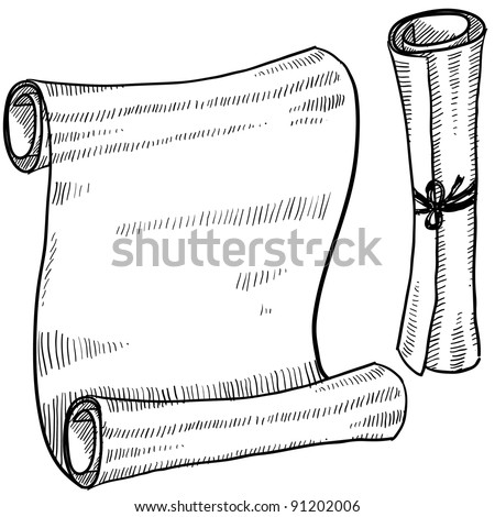 Doodle style scroll or ancient document illustration in vector format suitable for web, print, or advertising use.