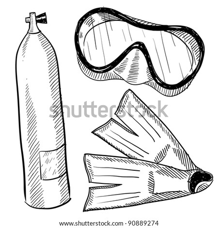 Doodle style scuba gear in vector format including mask, fins, and air tank