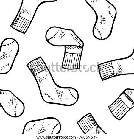 Doodle style seamless athletic socks background in vector format, ready for tiling.