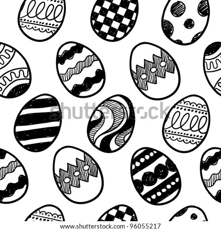 Doodle style seamless background of easter eggs.  Pattern will tile easily, and is in vector format. - stock vector