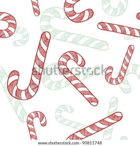 Doodle style seamless candy cane Christmas tiled vector background