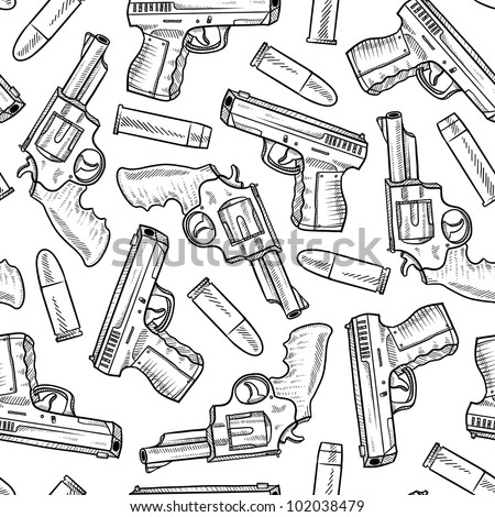 Doodle style seamless handgun background designed to be tiled. Vector format.