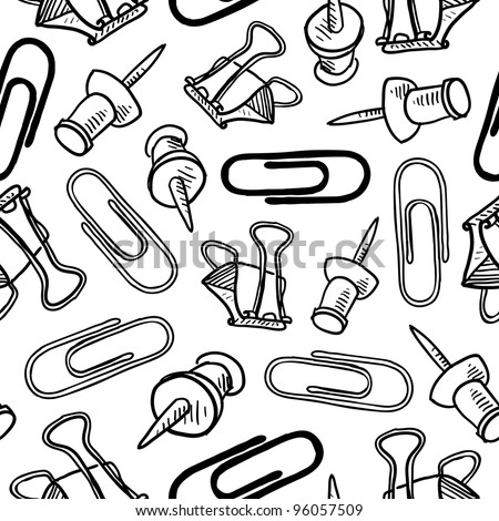 Doodle style seamless office supplies background pattern that can be tiled in vector format.  Includes paperclips, pushpins, and butterfly clips.