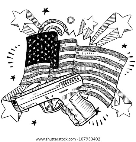Doodle style Second Amendment handgun or pistol illustration on a patriotic American flag background. American love for guns.