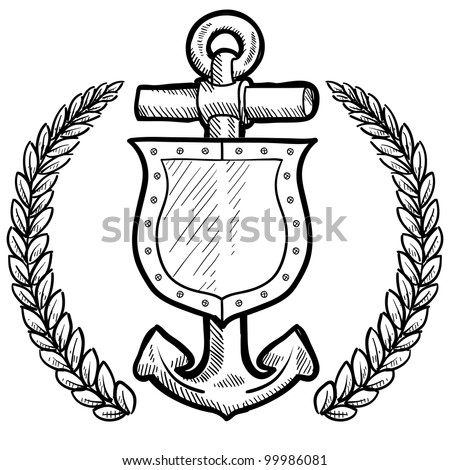 Doodle style secure or safety shield and maritime anchor with wreath in vector format