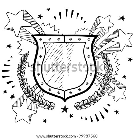 Doodle style secure shield on 1960s or 1970s pop explosion background in vector format