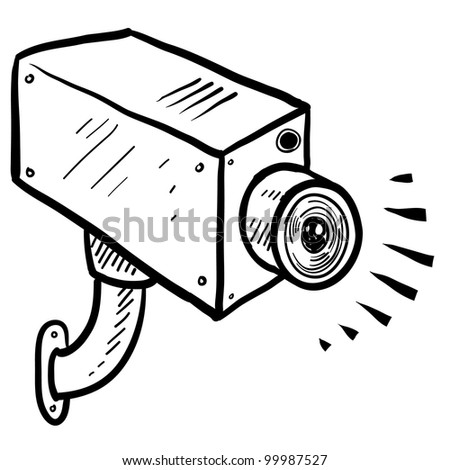 Doodle style security or surveillance camera in vector format