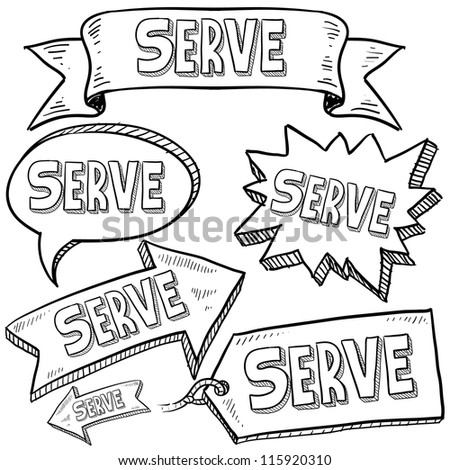Doodle style Serve or volunteer message tags, labels, banners and arrows in vector format. Can be used as an overlay, as background, or for a sticker effect on web or print materials.