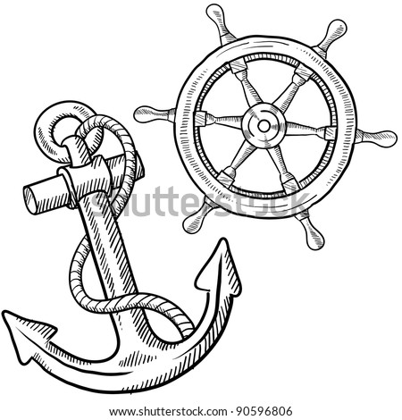 Doodle style ships anchor and wheel illustration in vector format