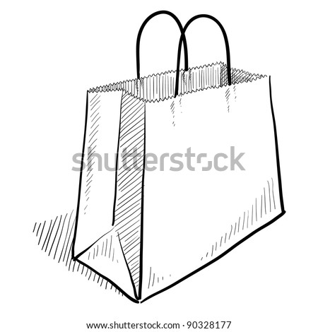 Doodle style shopping bag illustration