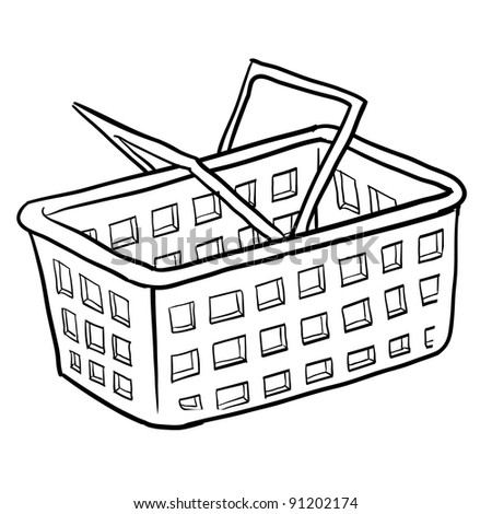 Doodle style shopping basket illustration or e-commerce icon in vector format suitable for web, print, or advertising use.