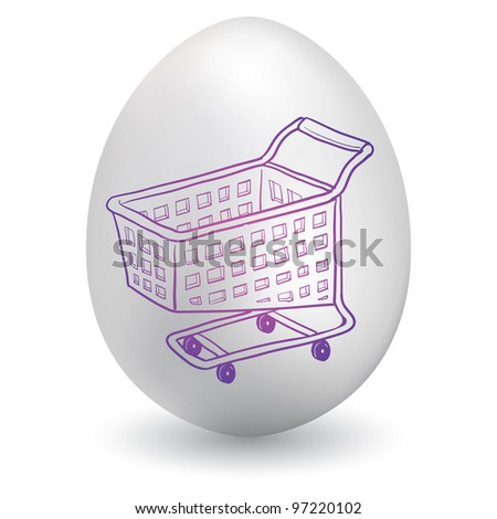Doodle style shopping cart icon sketch on decorated holiday Easter Egg in vector format