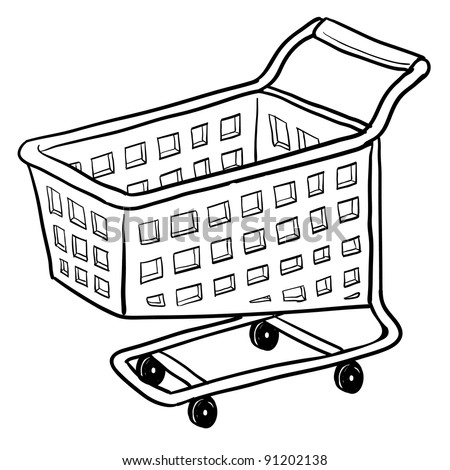 Doodle style shopping cart illustration or e-commerce icon in vector format suitable for web, print, or advertising use.