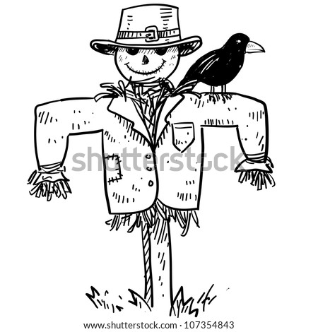 Doodle style sketch of a farm scarecrow with crow or raven in vector illustration.