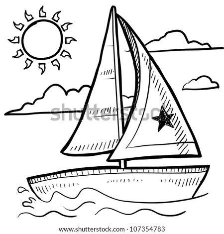 Doodle style sketch of a sailboat vacation in vector illustration.