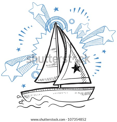 Doodle style sketch of a sailboat vacation on a pop explosion background in 1960s or 1970s style in vector illustration.