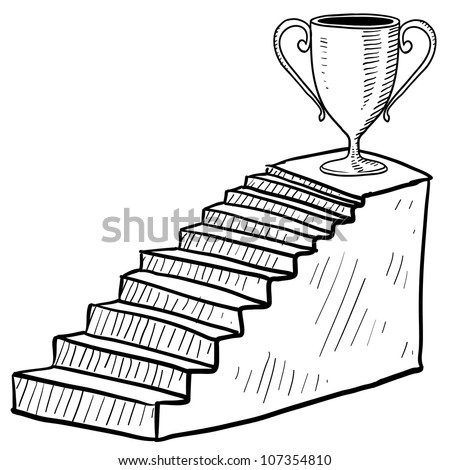 Doodle style sketch of a staircase to success including dais and trophy in vector illustration.