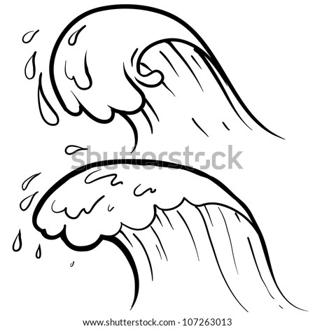 Doodle style sketch of a stylized ocean wave in vector illustration.