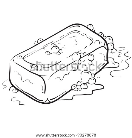 Doodle style soap with bubbles bathroom vector illustration
