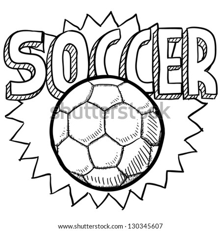 Doodle style soccer or football illustration in vector format. Includes text and ball.